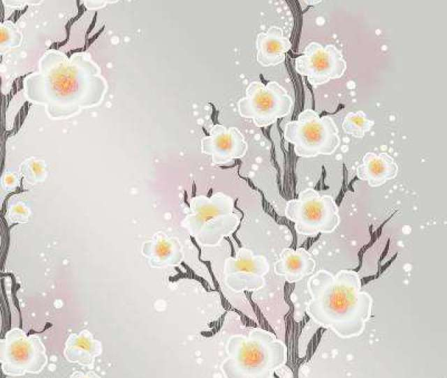Cynthia Rowley For Tempaper Cherry Blossoms Silver Self Adhesive Removable Wallpaper
