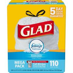 Glad Kitchen Trash Bags Tile For Floor 13 Gal Drawstring Fresh Clean Odorshield 110 Count