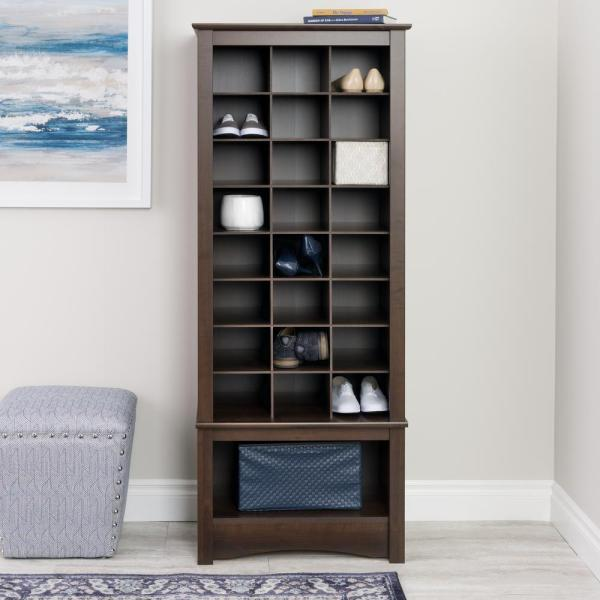 Prepac Tall 24-shoe Capacity Cubbie Cabinet Tower In Espresso-eusr-0008-1 - Home Depot