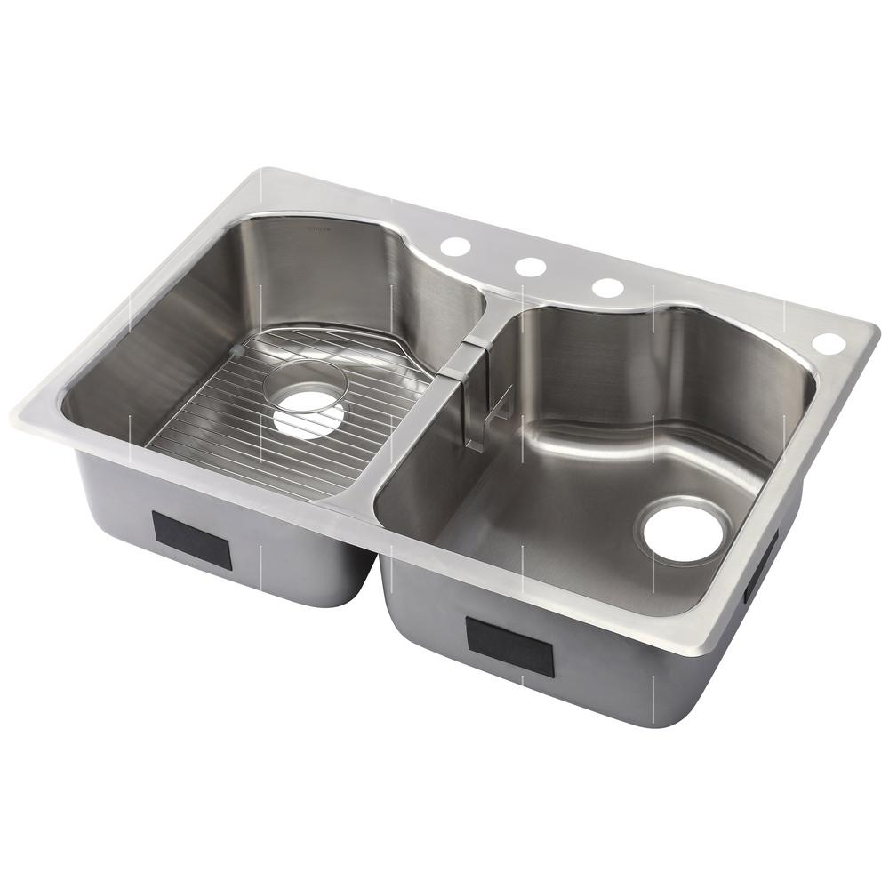 stainless kitchen sinks high end cabinets brands kohler octave dual mount steel 33 in 4 hole equal double basin
