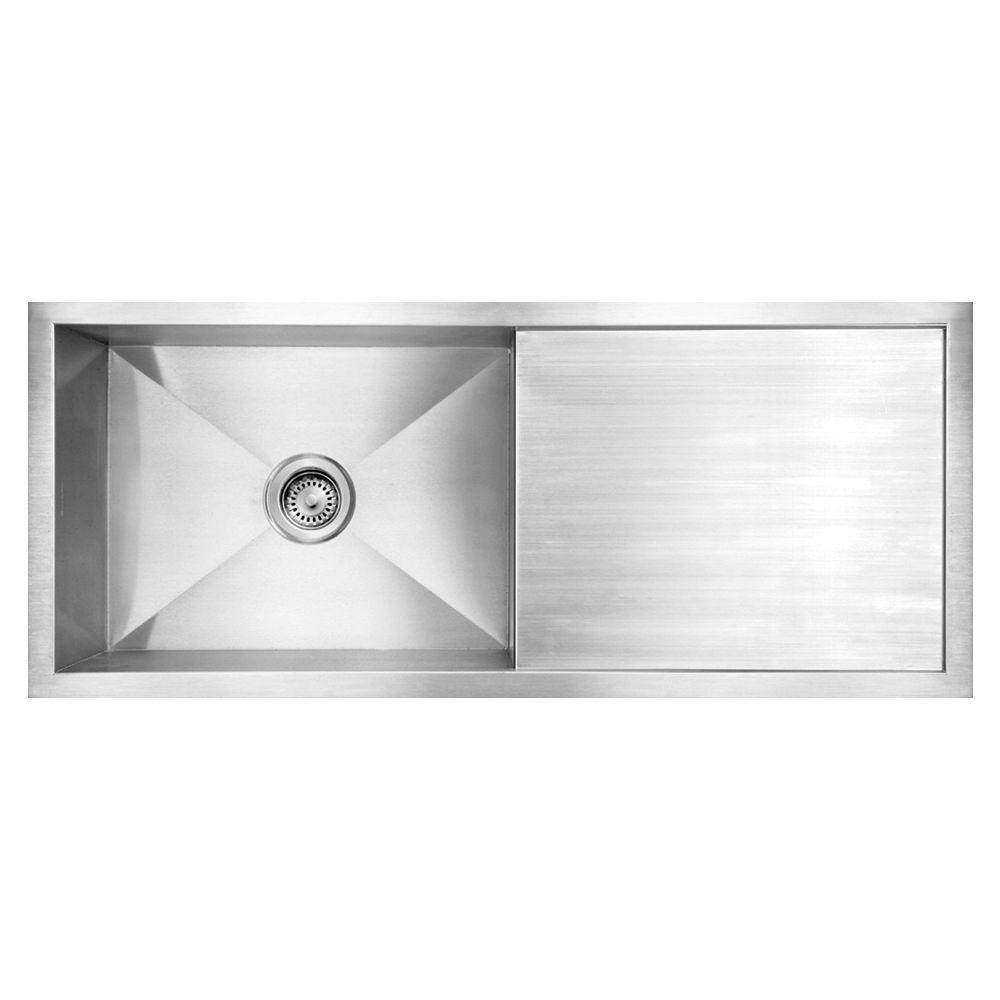 kitchen sinks with drain boards glass knobs for cabinets whitehaus collection noah s brushed undermount stainless steel 39 5 in 0 hole single bowl