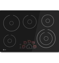 smooth surface electric cooktop in black with 5 elements [ 1000 x 1000 Pixel ]