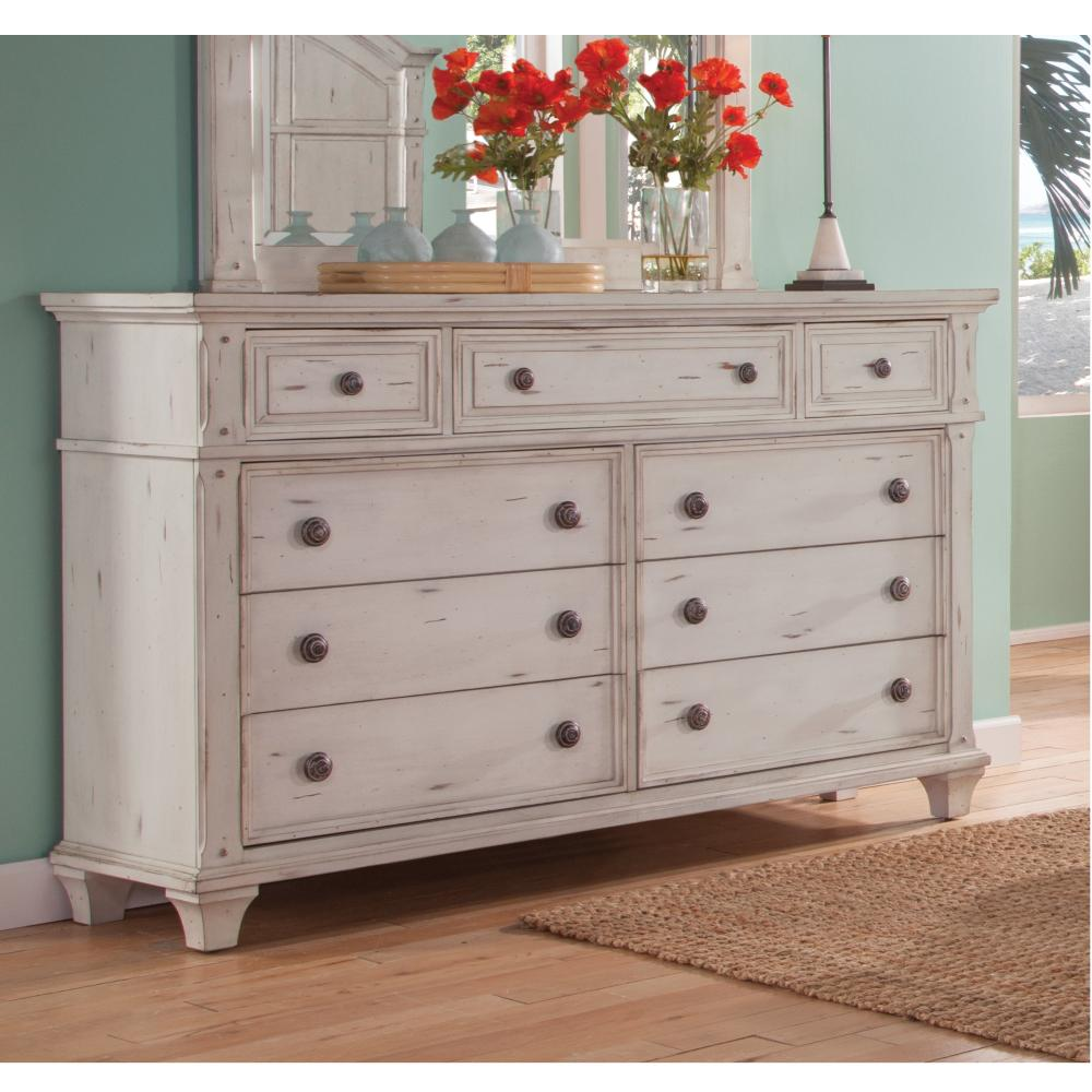 American Woodcrafters Sedona 9drawer Antique Cobblestone White Dresser2410270  The Home Depot