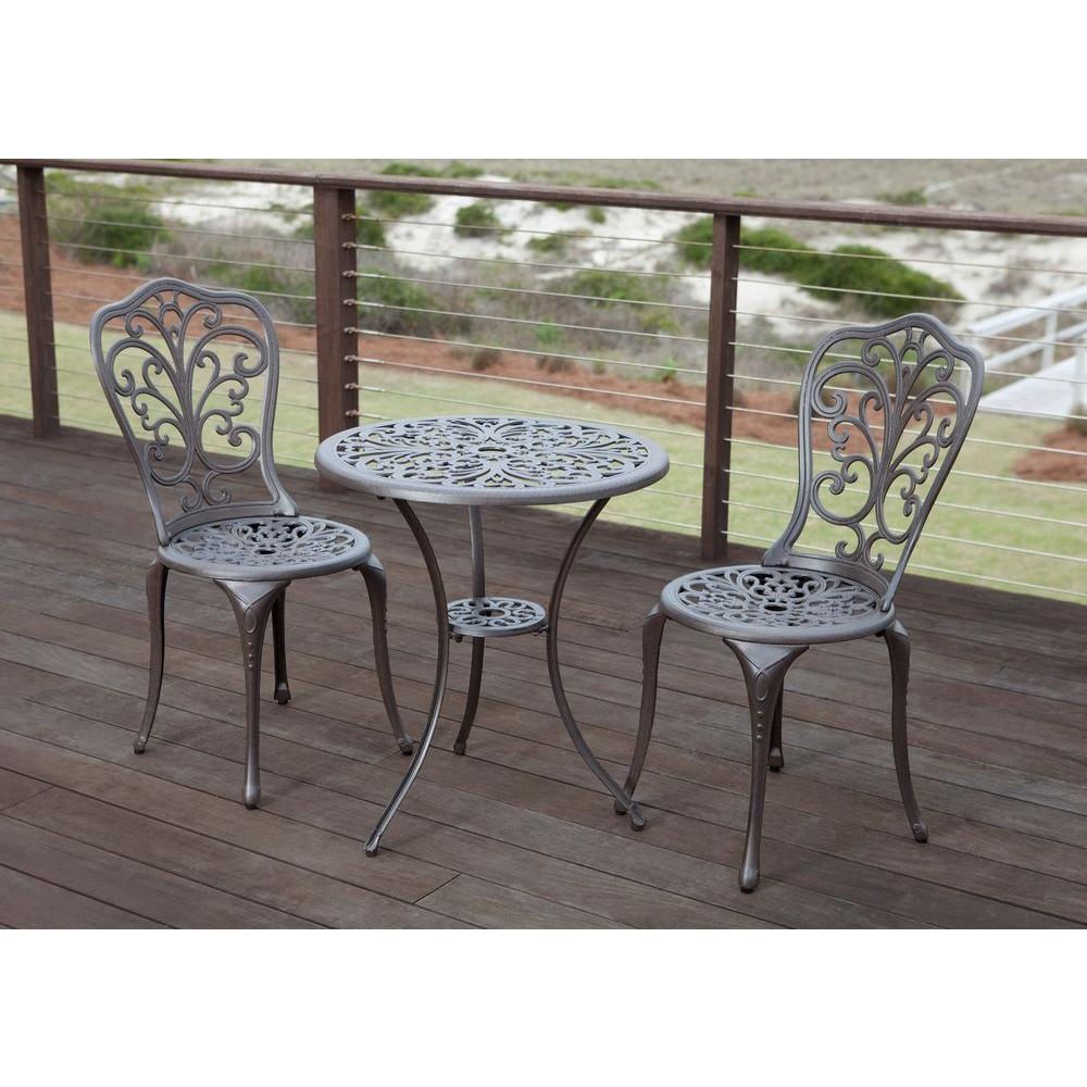 Metal Bistro Table And Chairs Patio Sense Faustina Bronze 3 Piece Cast Aluminum Patio Bistro Set