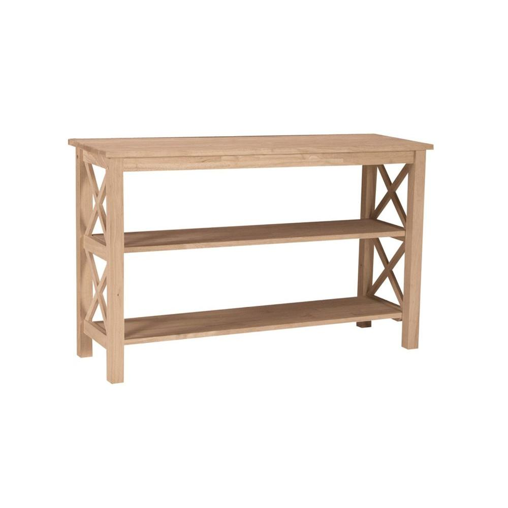 sofa console tables wood white stone table international concepts hampton unfinished ot 70s the home depot