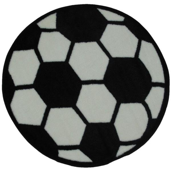 La Rug Fun Time Shape Soccerball Black And White 39 In