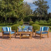 Noble House Grenada Teak 4-piece Wood Patio Conversation