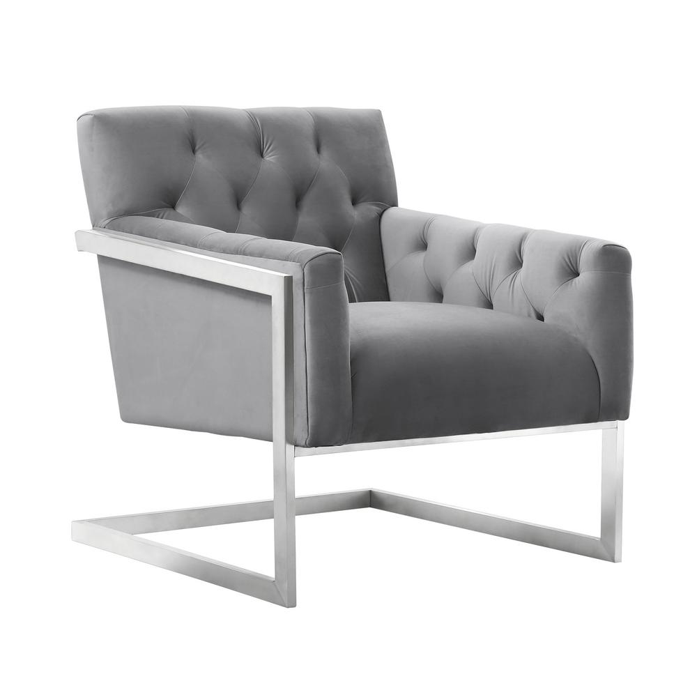 contemporary accent chair baby high chairs at target armen living emily grey velvet in brushed stainless steel lceychgrvl the home depot