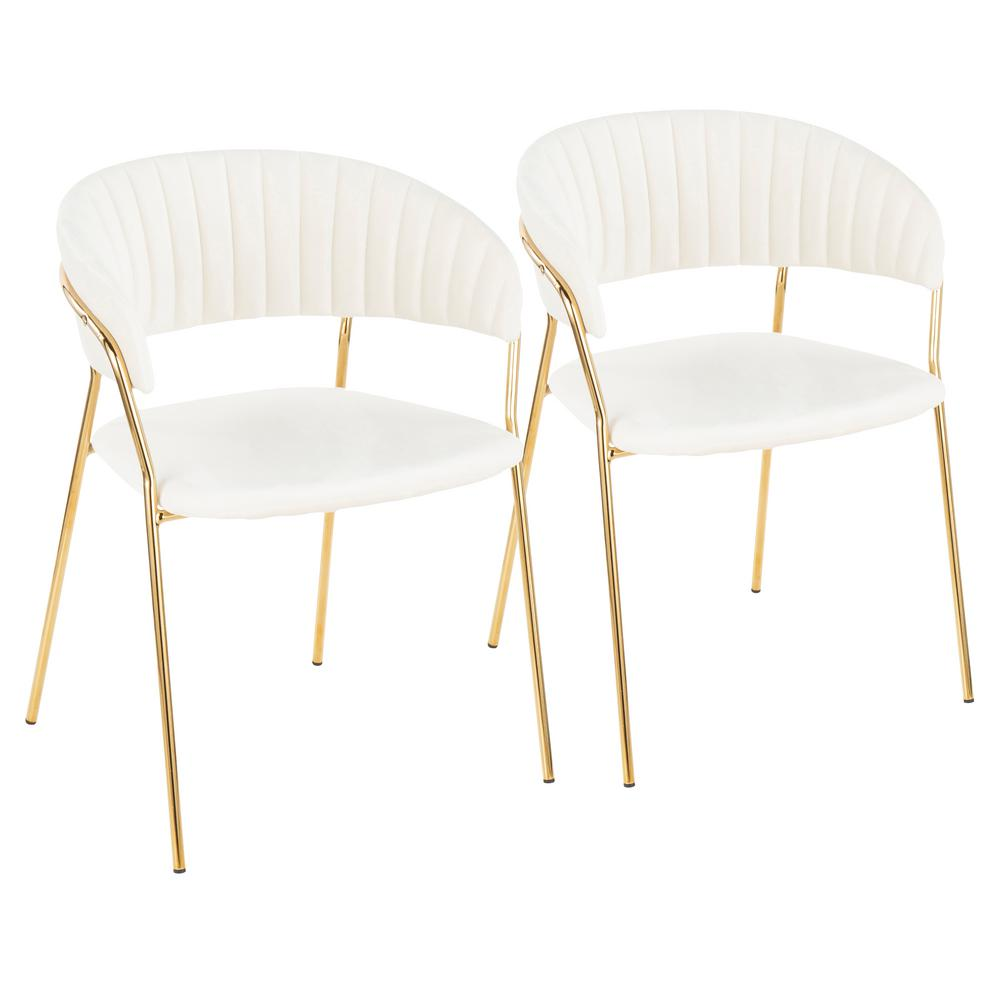 white and gold chair best kitchen table chairs lumisource tania with velvet arm set of 2 ch