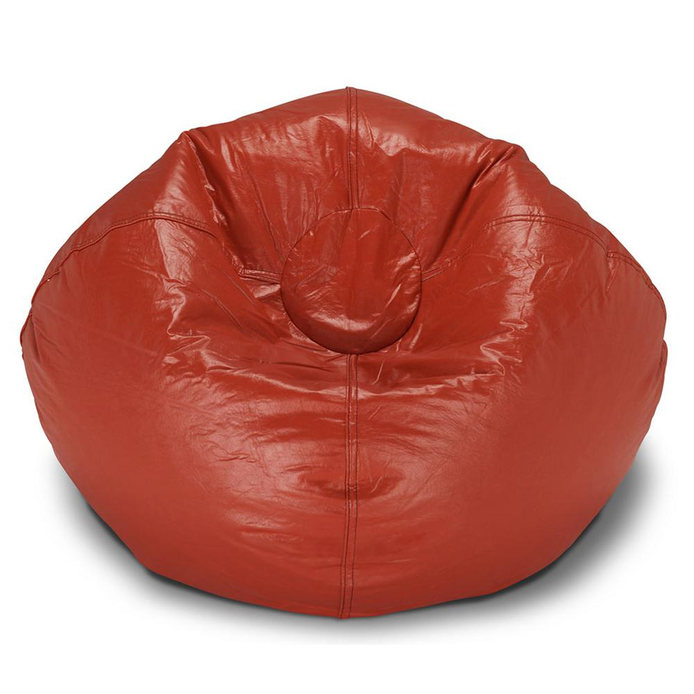 Vinyl Bean Bag Chairs Details About Red Vinyl Large Round Bean Bag Faux Leather College Students Young Adults Chair