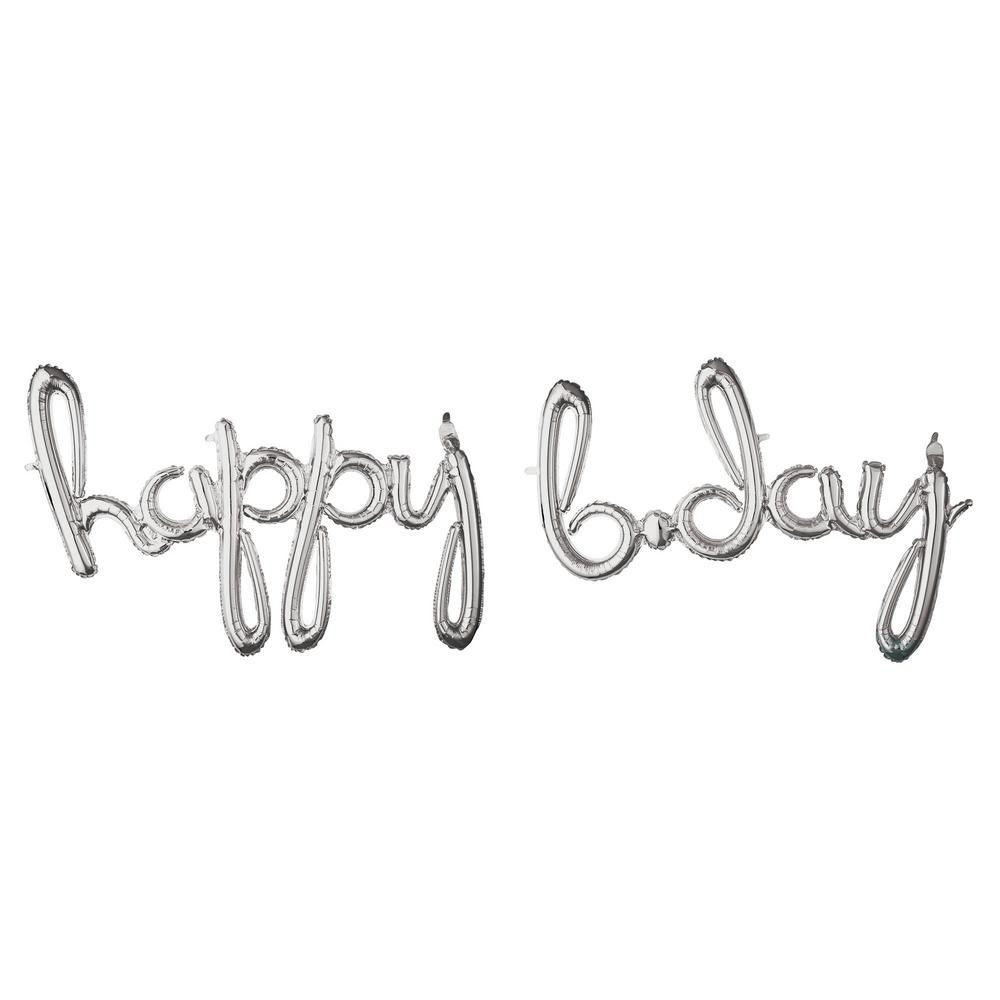 Amscan 27 In X 39 In Silver Happy B Day Cursive Letter Balloon Banner 3793630 The Home Depot