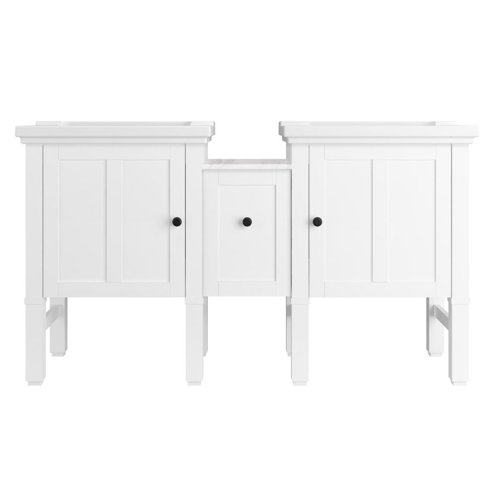 kohler chambly 60 in w vanity in linen white with ceramic vanity top in white