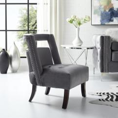 Grey Velvet Slipper Chair Wicker Indoor Cushions Inspired Home Salvador Button Tufted Armless With Open Back Style