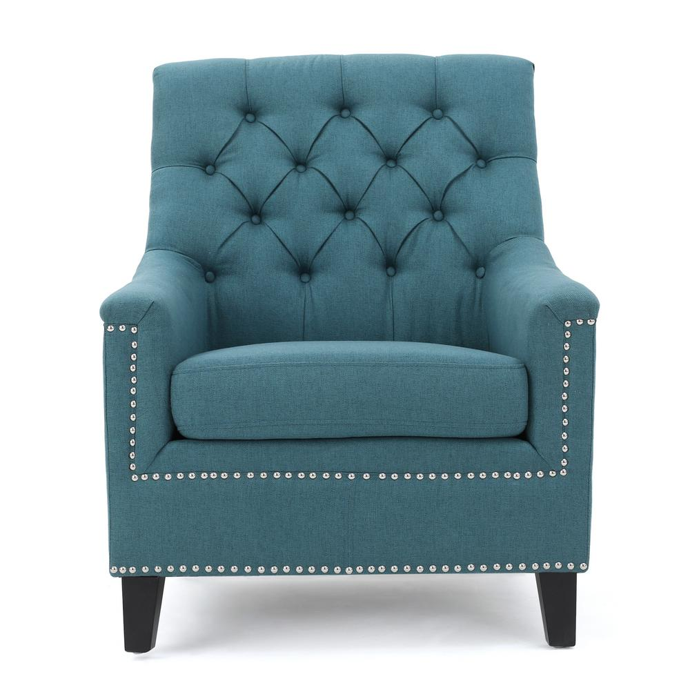 teal colored chairs pads for the bottom of chair legs noble house jaclyn tufted dark fabric club with stud accents