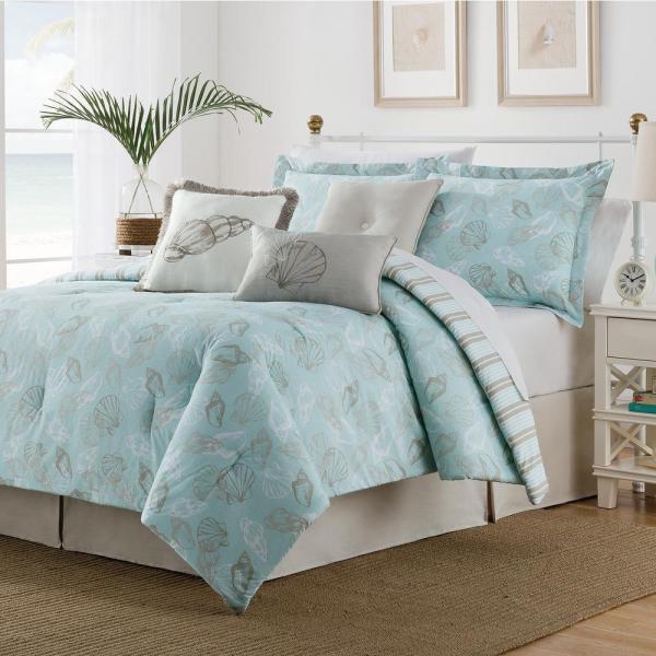 Seashell 7 Piece Multi-colored King Comforter Set