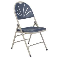 Double Seat Folding Chair Diy Wood Mat National Public Seating Nps 1100 Series Polyfold Navy Blue Fan Back Pack Of 4