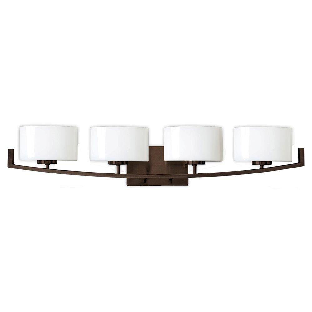 medium resolution of hampton bay burye 4 light oil rubbed bronze vanity light with etched white glass shades