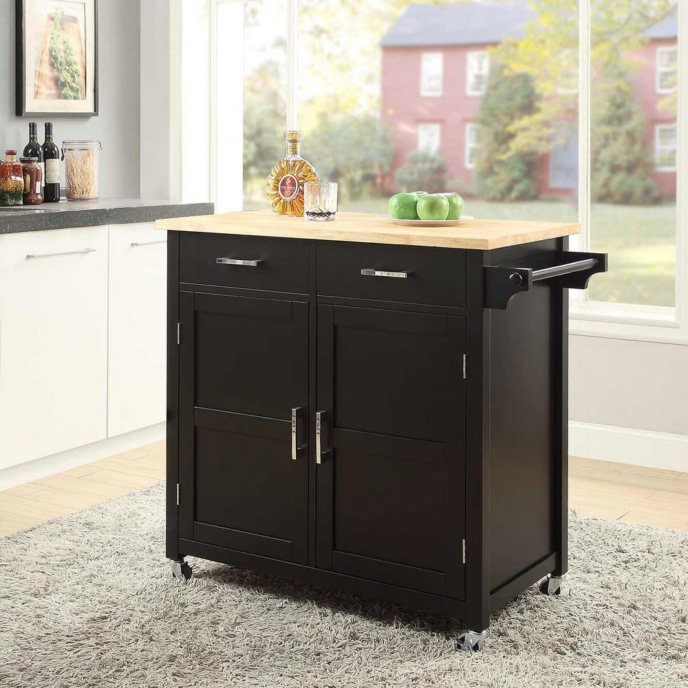 small kitchen carts white granite countertops usl macie black cart sk19250a1 bk the home depot
