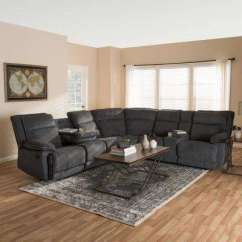 Pictures Of Living Rooms With Grey Sectionals Room Side Table Gray Furniture The Home Depot Sabella 7 Piece Dark Fabric Reclining Sectional