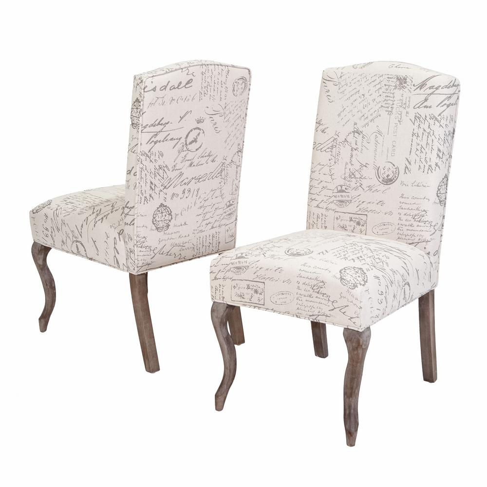 Script Chair Noble House Lynwood Beige Fabric French Script Dining Chairs Set Of 2