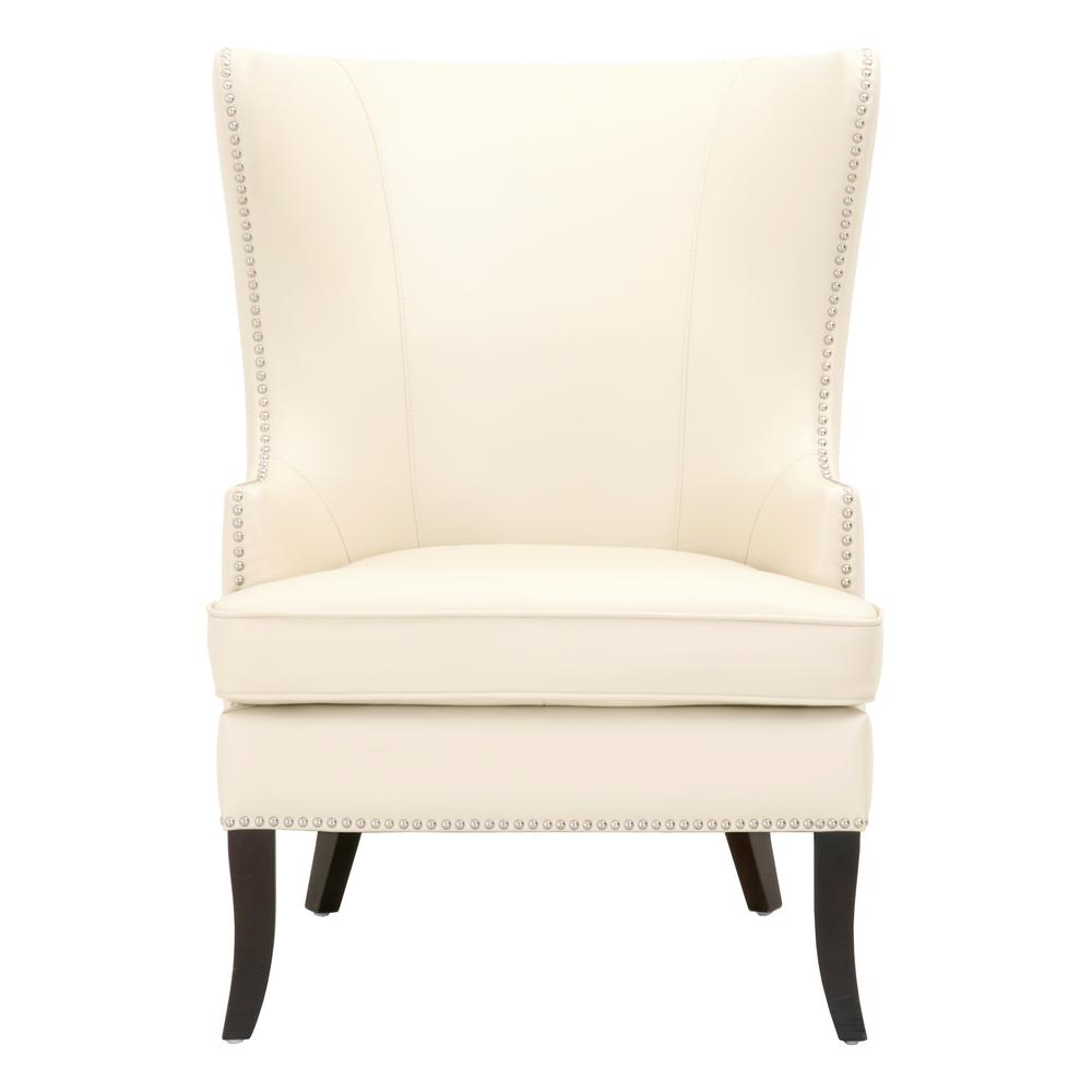 accent wingback chairs modern outdoor rocking chair home decorators collection moore ivory bonded leather wing back