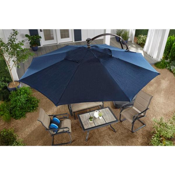 Hampton Bay 11 Ft. Aluminum Cantilever Solar Led Offset Patio Umbrella In Midnight-yjaf052-mi