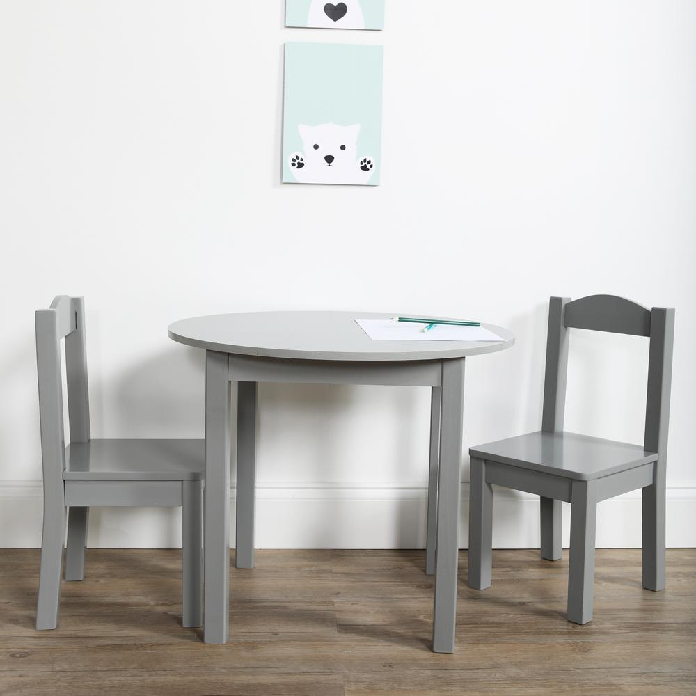 Kids Wood Table And Chairs Tot Tutors Inspire 3 Piece Grey Kids Round Table And Chair Set