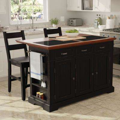 island tables for kitchen counter stools carts islands utility dining room furniture farmhouse basics black finish with vintage oak and granite top
