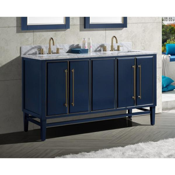 Avanity Mason 60 In Bath Vanity Cabinet Only In Navy Blue With Gold Trim Mason V60 Nbg The Home Depot