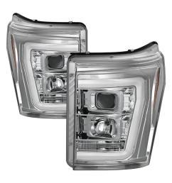 ford f 250 f 350 f450 super duty 11 16 version 2 projector headlights light bar drl chrome [ 1000 x 1000 Pixel ]