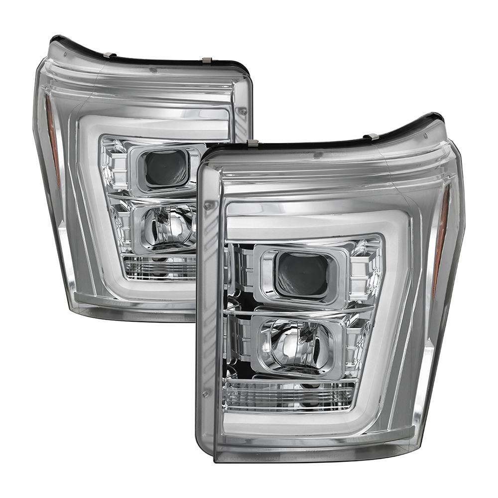 hight resolution of ford f 250 f 350 f450 super duty 11 16 version 2 projector headlights light bar drl chrome