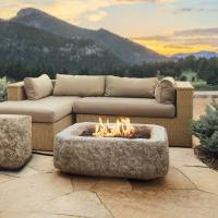 Real Flame Antique Stone 37 in. Square Propane Gas Fire
