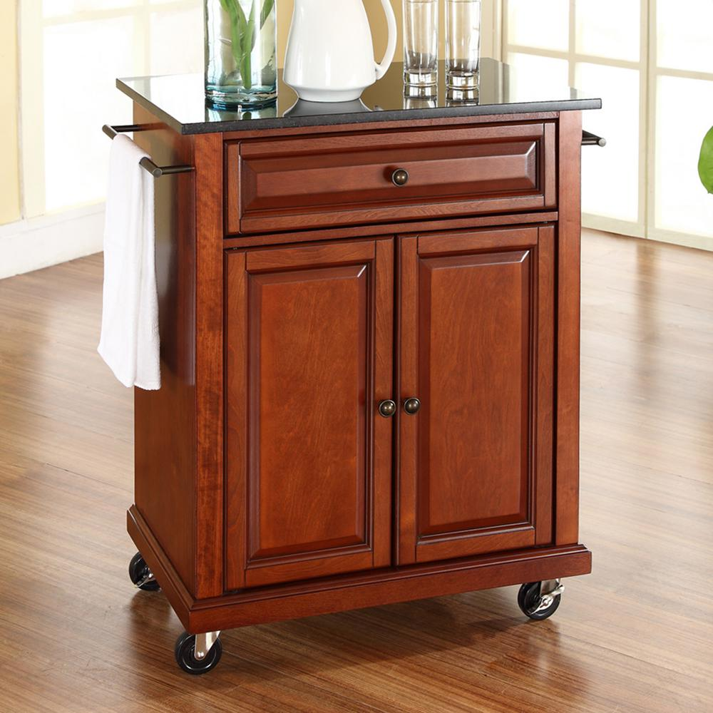 crosley kitchen cart mobile island cherry with black granite top kf30024ech the