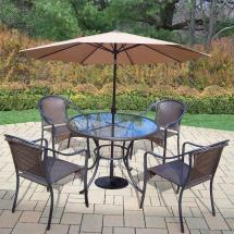 Hampton Bay Pin Oak 7-piece Wicker Outdoor Dining Set With