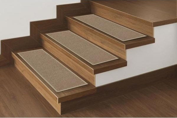 Ottomanson Dark Beige 8 5 In X 26 6 In Non Slip Rubber Back | Wood Stair Treads Home Depot | Vinyl Flooring | Stair Risers | Indoor Stair | Tread Covers | Unfinished Pine Stair