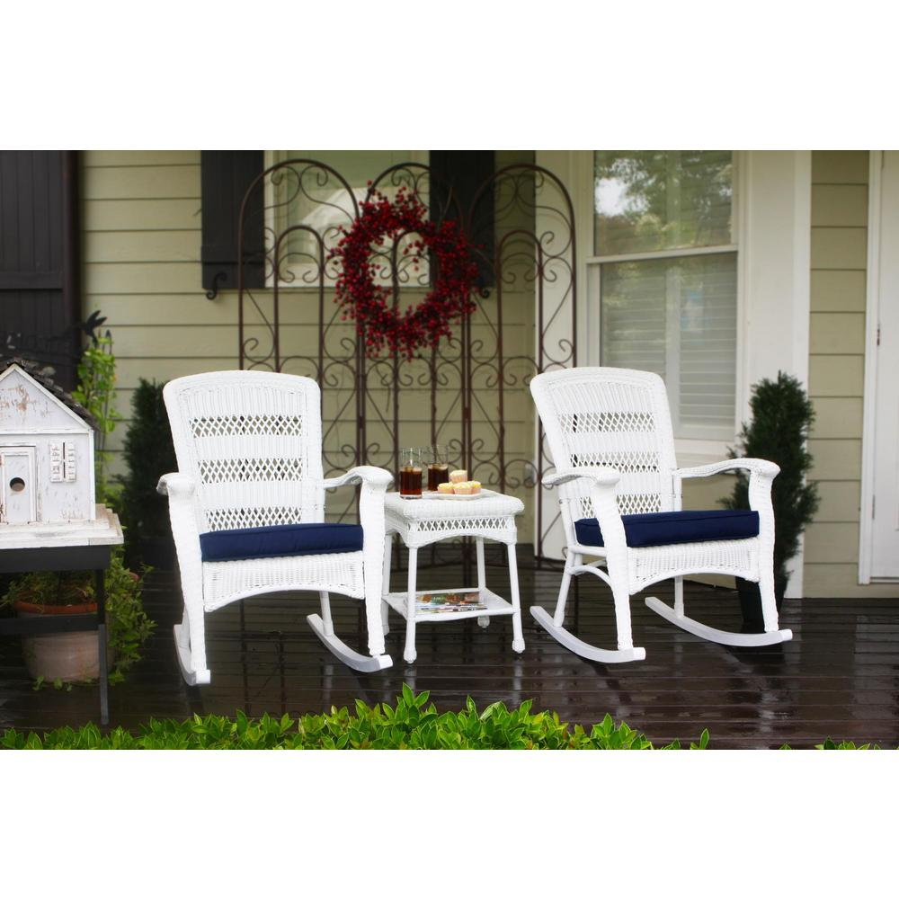 Outdoor Rocking Chair Set Tortuga Outdoor Portside Plantation White 3 Piece Wicker Outdoor Rocking Chair Set With Navy Blue Cushion