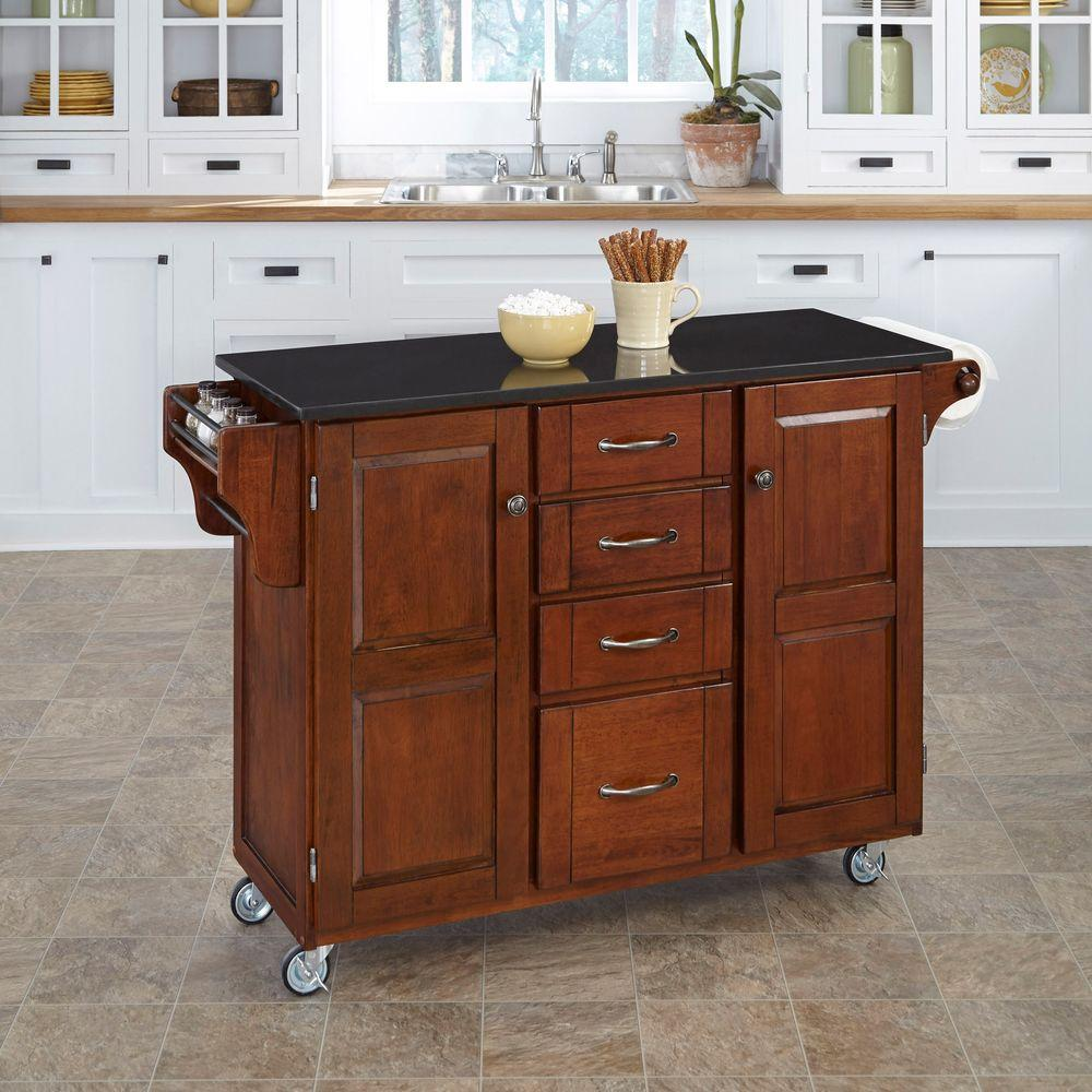 cherry kitchen cart aid knife set home styles create a with black granite top