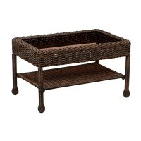 Hampton Bay Mix and Match Brown Wicker Outdoor Coffee ...