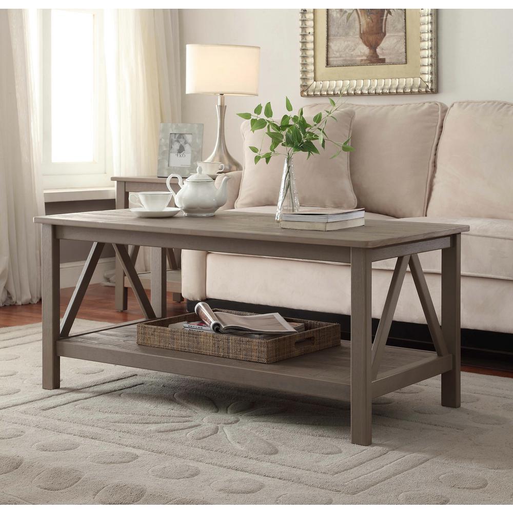 Linon Home Decor Titian Rustic Gray Coffee Table
