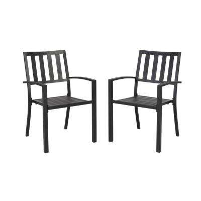 stackable outdoor chairs peg perego pink high chair dining patio the home depot mix and match black metal slat 2 pack
