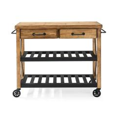 Crosley Kitchen Island Aid Beater Roots Rack Industrial Cart In Natural Cf3008 Na