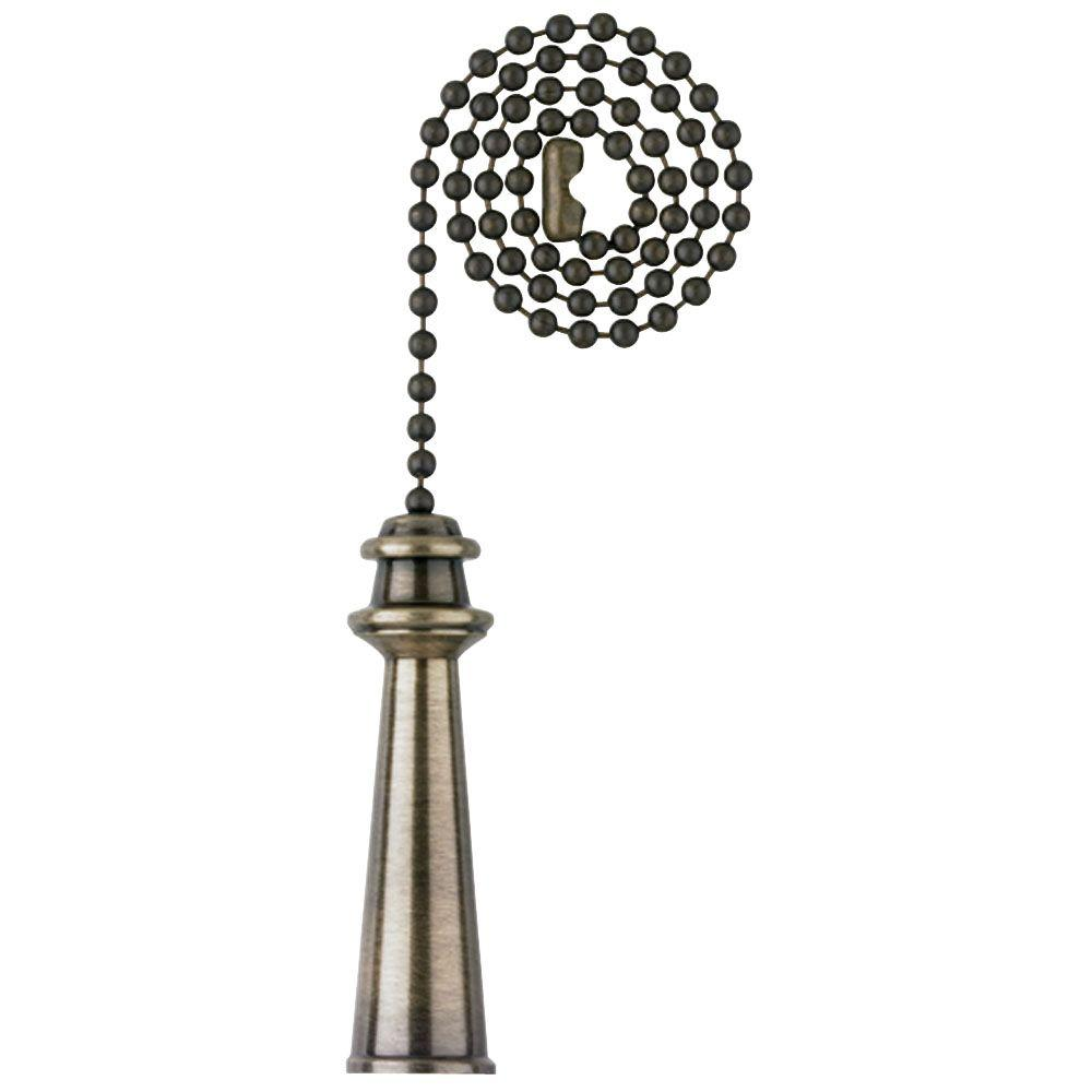 Home Ceiling Fan Light Antique Brass Beaded Pull Chain