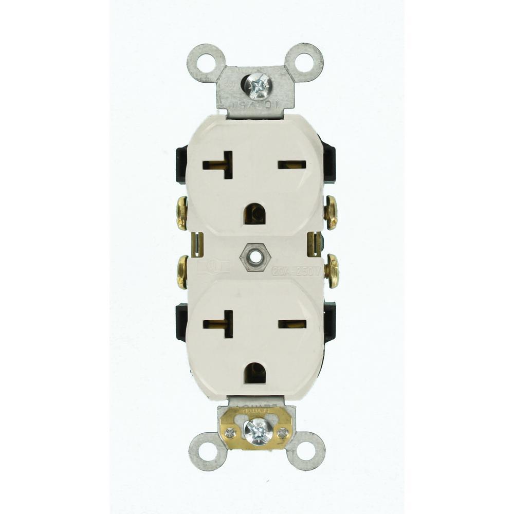 medium resolution of leviton 20 amp commercial grade self grounding duplex outlet white