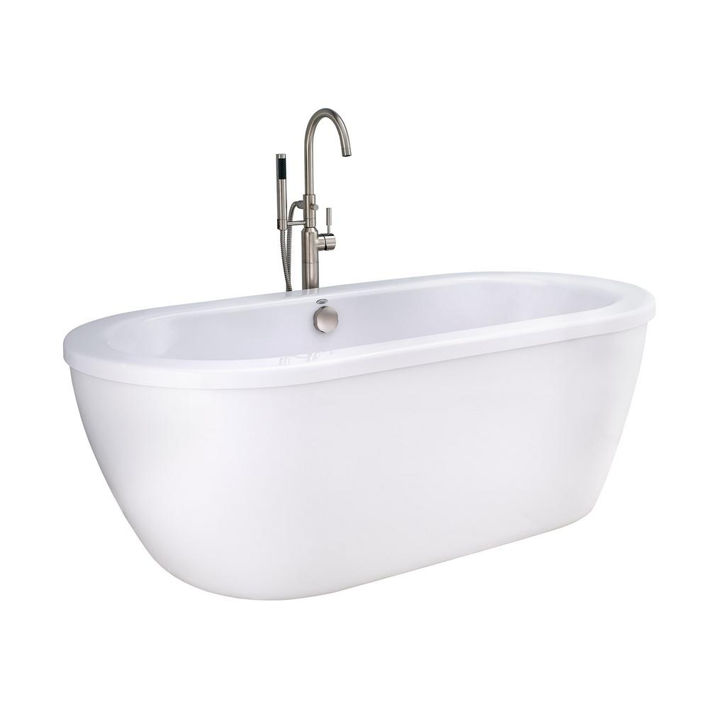 American Standard Cadet 55 ft Acrylic Flatbottom NonWhirlpool Bathtub in Artic White with