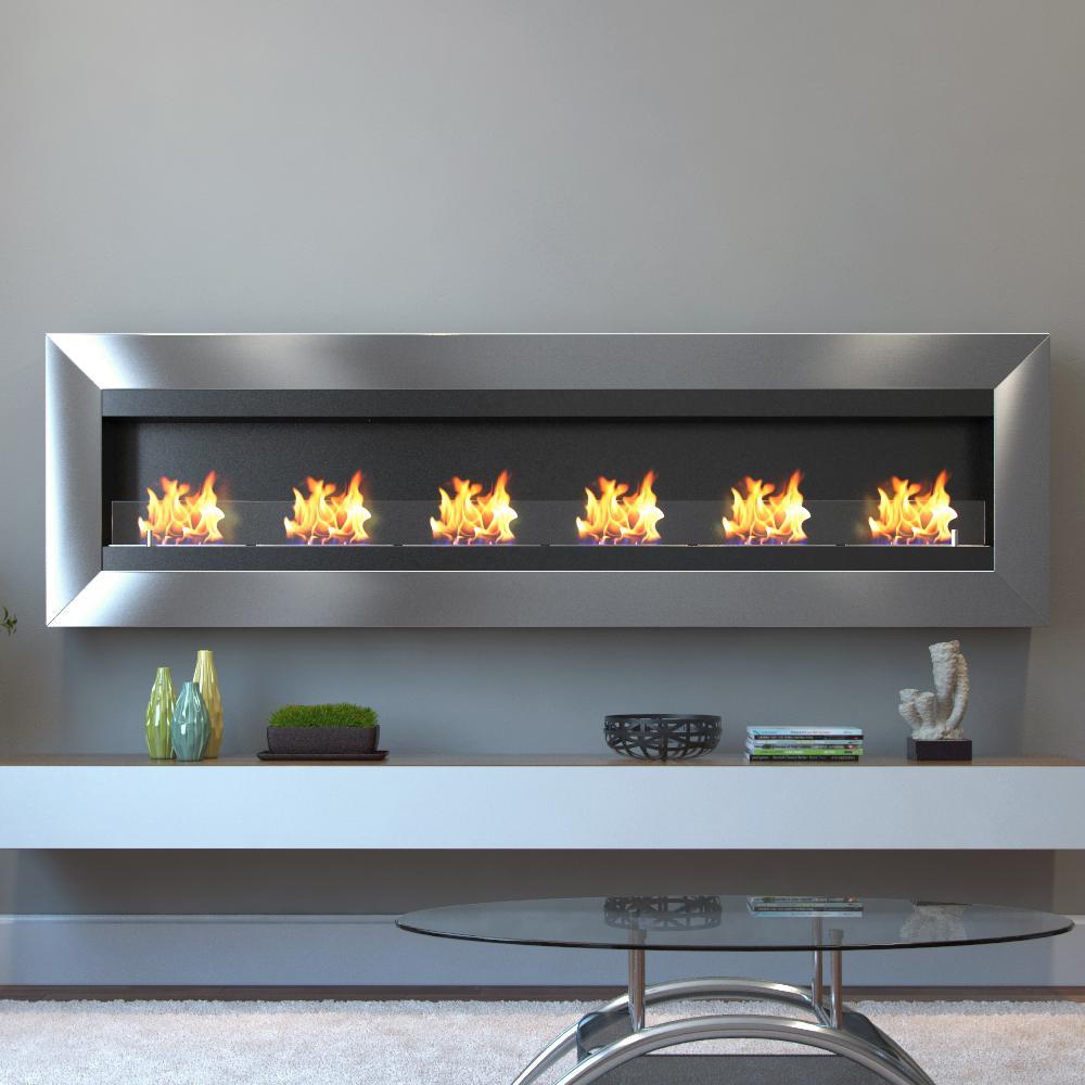 Moda Flame Verrazano 82 in Wall Mounted Ethanol Fireplace