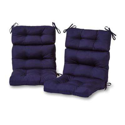 navy blue patio chair cushions leather chairs with ottoman outdoor furniture the home depot solid high back dining cushion 2 pack