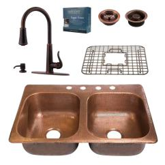 Copper Kitchen Sink Home Depot Backsplash Glass Tile Sinkology Pfister All In One Drop 33 4 Hole Double Bowl With Faucet Design Kit Rustic Bronze