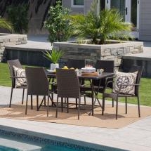 Noble House Multi-brown 7-piece Wicker Rectangular Outdoor