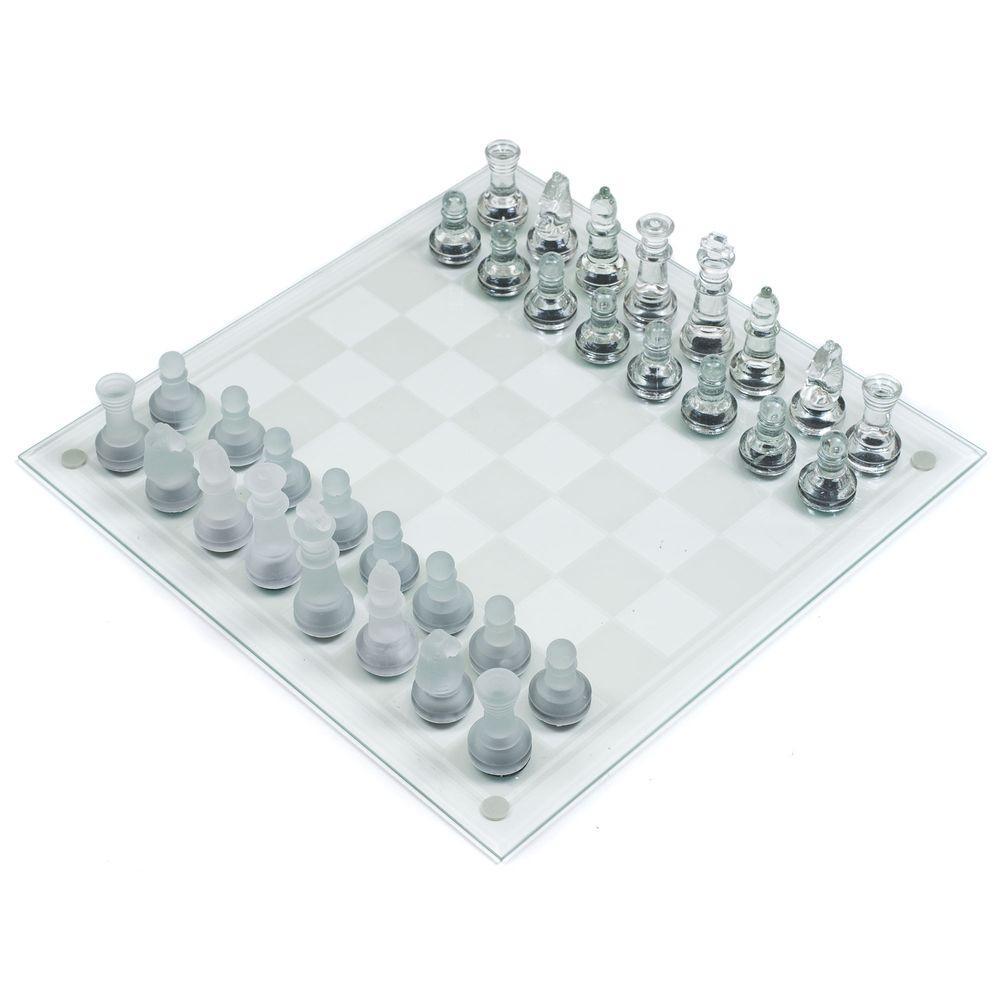 Trademark Games Deluxe Glass Chess Set 12 BG030 The Home Depot