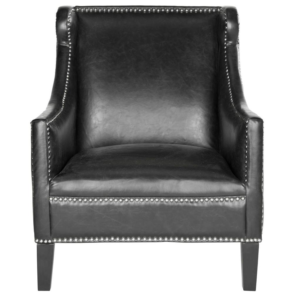 Safavieh McKinley Antique Black Leather Club Arm Chair